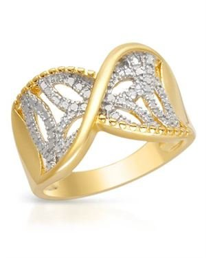 Ladies Diamond Ring Designed In Two Tone Gold Plated Silver