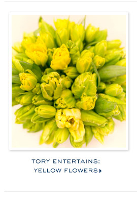 TORY ENTERTIANS YELLOW FLOWERS