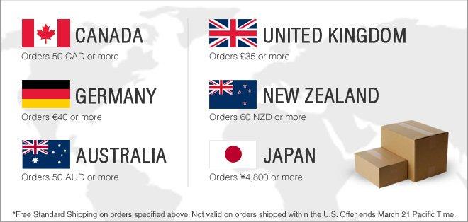 Free Shipping for Canada, United Kingdom, Germany, New Zealand, Australia & Japan