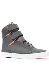 The Society Sneaker in Charcoal Satin TUF & Fluorescent Orange Accents
