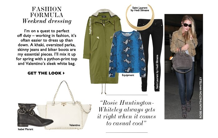 FASHION FORMULA WEEKEND DRESSING I'm on a quest to perfect off duty – working in fashion, it's often easier to dress up than down. A khaki, oversized parka, skinny jeans and biker boots are my essential pieces. I'll mix it up for spring with a python-print top and Valentino's sleek white bag.  GET THE LOOK