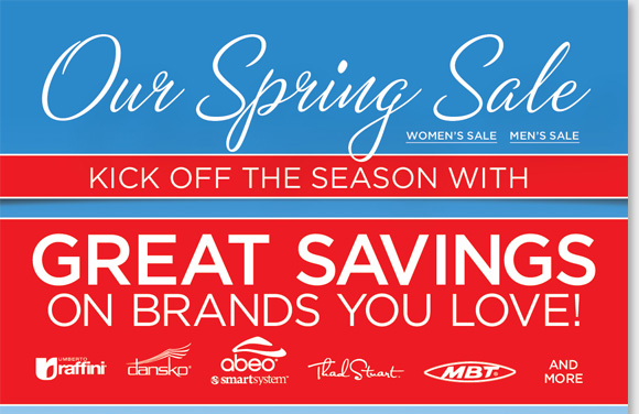 Kick off the season with great savings on styles for women and men during our Spring Sale. Save on the brands you love including ABEO SMARTsystem, Umberto Raffini, Dansko, Thad Stuart, MBT and much more! Shop now to find the best selection online and in stores at The Walking Company.