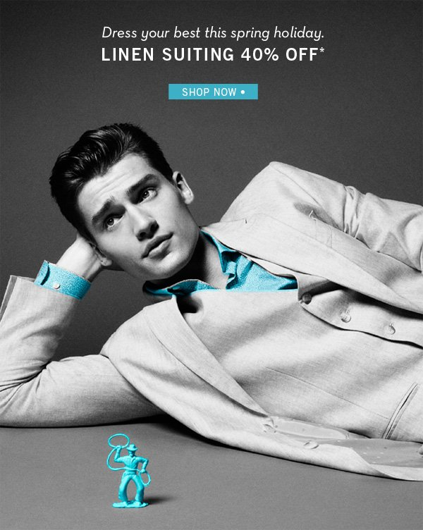 Dress Your Best With Linen Suiting 40% Off + Free Shipping