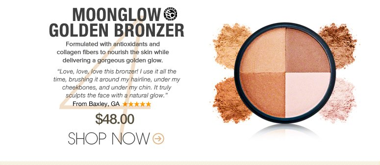 "Shopper's Choice Moonglow Golden Bronzer Formulated with antioxidants and collagen fibers to nourish the skin while delivering a gorgeous golden glow. ""Love, love, love this bronzer! I use it all the time, brushing it around my hairline, under my cheekbones, and under my chin. It truly sculpts the face with a natural glow."" –From Baxley, GA $48 Shop Now>>"