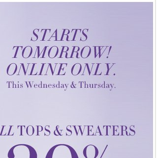 All Tops and Sweaters are now 30% - 50% off!