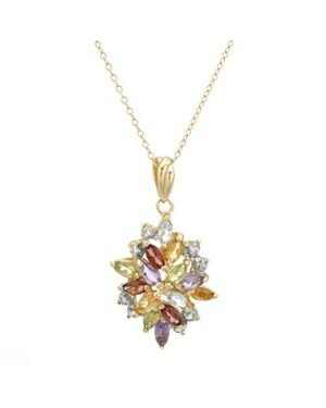Ladies Garnet Necklace Designed In Yellow Gold Plated Silver $19