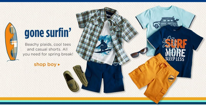 Gone Surfin': Beachy plaids, cool tees and casual shorts. All you need for spring break! Shop Boy