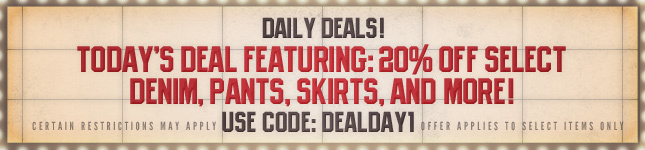 Daily Deal: 20% Off select Denim, Pants, Skirts and more