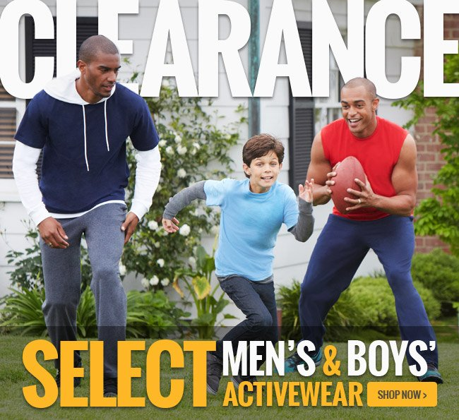 Clearance: Select Men's and Boys' Activewear