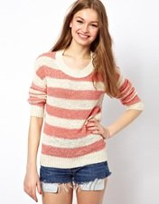 A Wear Stripe And Woven Mix Jumper