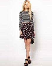 River Island Button Through Mini Skirt In Floral Print