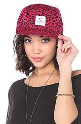 The No Love 5-Panel Cap in Pink Black Cheetah