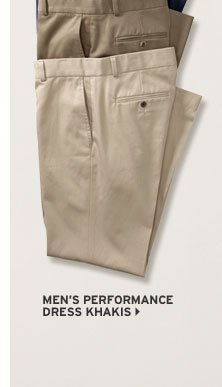 Classic Fit Flat-Front Performance Dress Khaki Pants