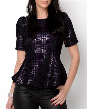 Eros Apparel Metallic Houndstooth Peplum Blouse