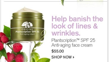 Help banish the look of lines and wrinkles Plantscription SPF 25 anti aging face cream 55 dollars shop now