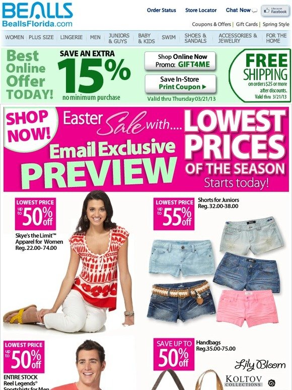 0aab6d14617f Lowest Prices of the Season starts now. Save up to 60% + Extra 15% off with  Pass.