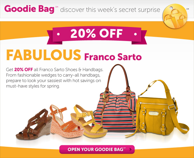 FABULOUS Franco Sarto - 20% Off all Franco Sarto Shoes & Handbags. From fashionable wedges to carry-all handbags, prepare to look your sassiest with hot savings on must-have styles for spring - Open Your Goodie Bag