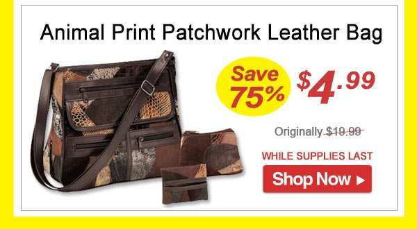 Animal Print Patchwork Leather Bag - Save 75% - Now Only $4.99 Limited Time Offer