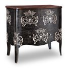 Black with White Print 4-Drawer Hall Chest