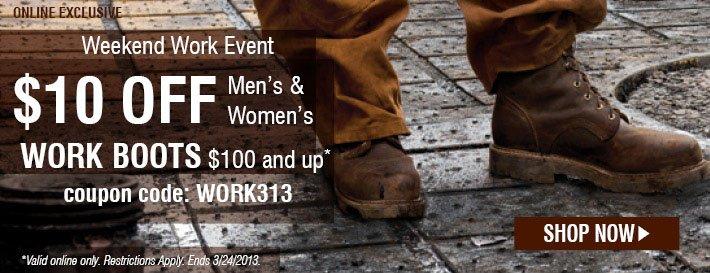 $10 Off Men's & Women's Work Boots