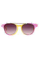 The Moreso Sunglasses in Pink Fade to Yellow