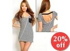 Open-Back Striped Panel Top