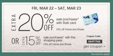 FRI, MAR 22 - SAT, MAR 23. Extra 20% off. Get coupon.