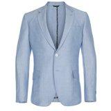 Paul Smith Jackets - Sky Blue Birdseye Wool And Linen Abbey Jacket