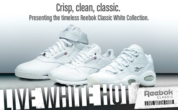 Crisp, clean, classic. Presenting the timeless Reebok Classic White Collection.