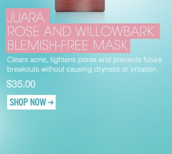 """Juara Rose and Willowbark Blemish-Free Mask Clears acne, tightens pores and prevents future breakouts without causing dryness or irritation. """"This mask goes on light, provides good coverage, and washes off easily. My face is much clearer since I started using it several months ago. Love it!"""" –From Coconut Creek, FL $35 Shop Now>>"""