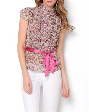 Papillon Sheer Floral Printed Blouse
