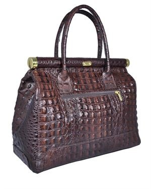 Giulia Crocodile Embossed Genuine Leather Padlock Satchel Made in Italy