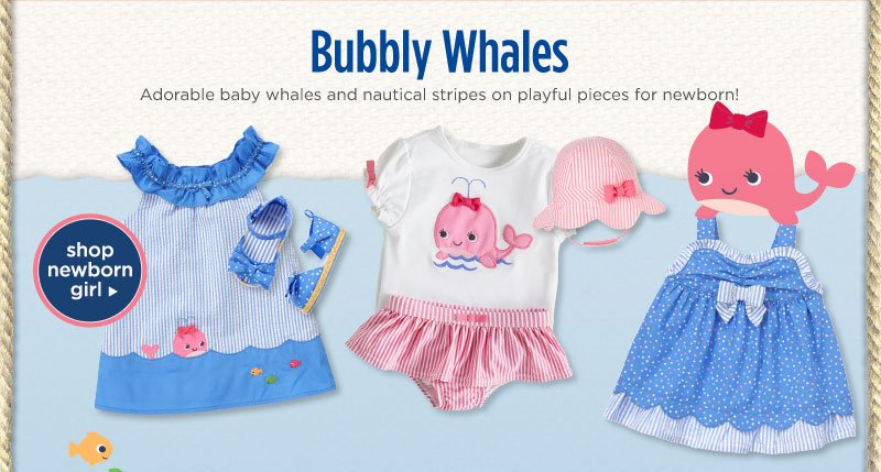 Bubbly Whales - Adorable baby whales and nautical stripes on playful pieces for newborn! Shop Newborn Girl