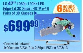 "$699.99 -- LG 47"" 1080p 120Hz LED Edge-Lit 3D Smart HDTV w/ 6 Pairs of 3D Glasses"