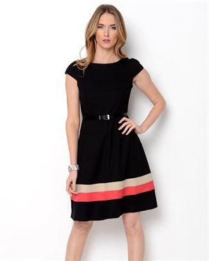 Anne Klein Belted A-Line Striped Dress