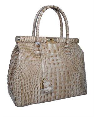 Giulia Crocodile Embossed Genuine Leather Padlock Satchel Made in Italy