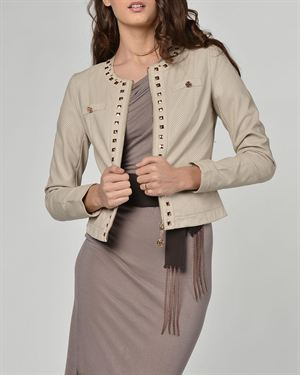 Eight Sin Stud Detail Perforated Zipped Jacket Made In Italy