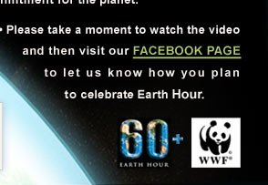 • Please take a moment to watch the video and then visit our FACEBOOK PAGE to let us know how you plan to  celebrate Earth Hour.