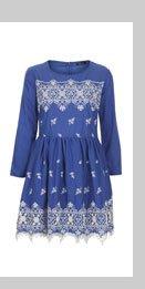 Embroidered Hem Flippy Dress