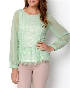 Sweet Rain Lace Peplum Blouse $29