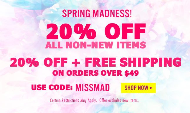 MISSMAD: 20% Off + Free Shipping on orders over $49