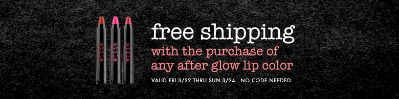 free shipping with the purchase of any after glow lip color