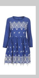 Embroidered Hem Flippy Dress