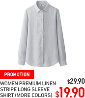 WOMEN PREMIUM LINEN STRIPE LONG SLEEVE SHIRT