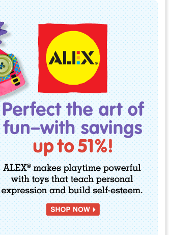 ALEX Toys—perfect the art of fun! Save up to 51% on blocks, crafts, tub toys and more from the trusted brand!