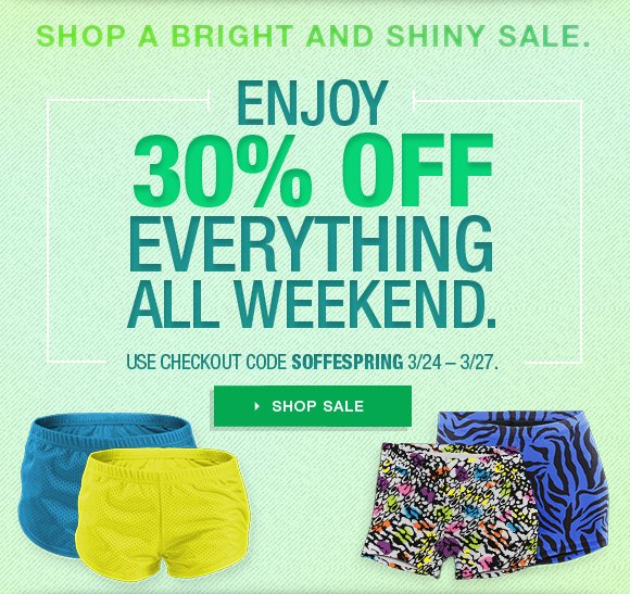Enjoy 30% off everything all weekend. Checkout code SOFFESPRING.