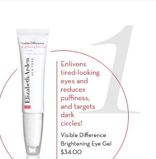 1. Enlivens tired-looking eyes and reduces puffiness, and targets dark circles! Visible Difference Brightening Eye Gel $34.00. SHOP NOW.