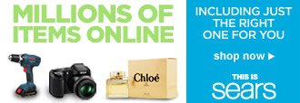 MILLIONS OF ITEMS ONLINE   INCLUDING JUST THE RIGHT ONE FOR YOU   shop now   THIS IS sears