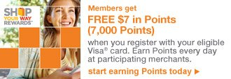 SHOP YOUR WAY REWARDS(SM)   Members get FREE $7 in Points (7,000 Points)   start earning Points today