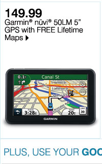 Web exclusive! 149.99 Garmin(R) nüvi(R) 50LM 5 GPS with FREE Lifetime Maps Plus, use your Goodwill Sale coupon & save even more!
